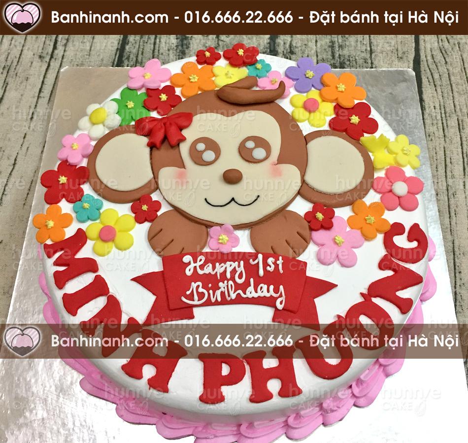 Bánh gato sinh nhật hình con khỉ mắt long lanh bên trong vườn hoa rực rỡ (Mã: 3558)