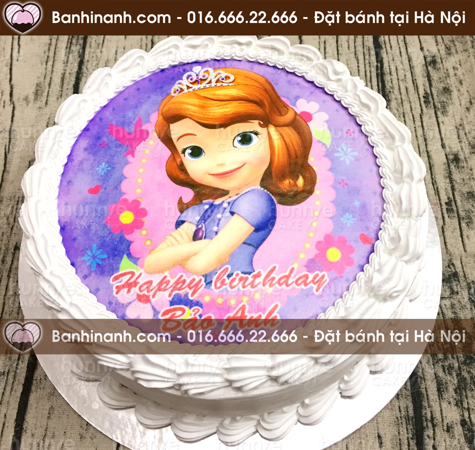 Bánh gato sinh nhật in ảnh công chúa đệ nhất Sofia the first tông tím trắng cho bé gái (Mã: 2345)