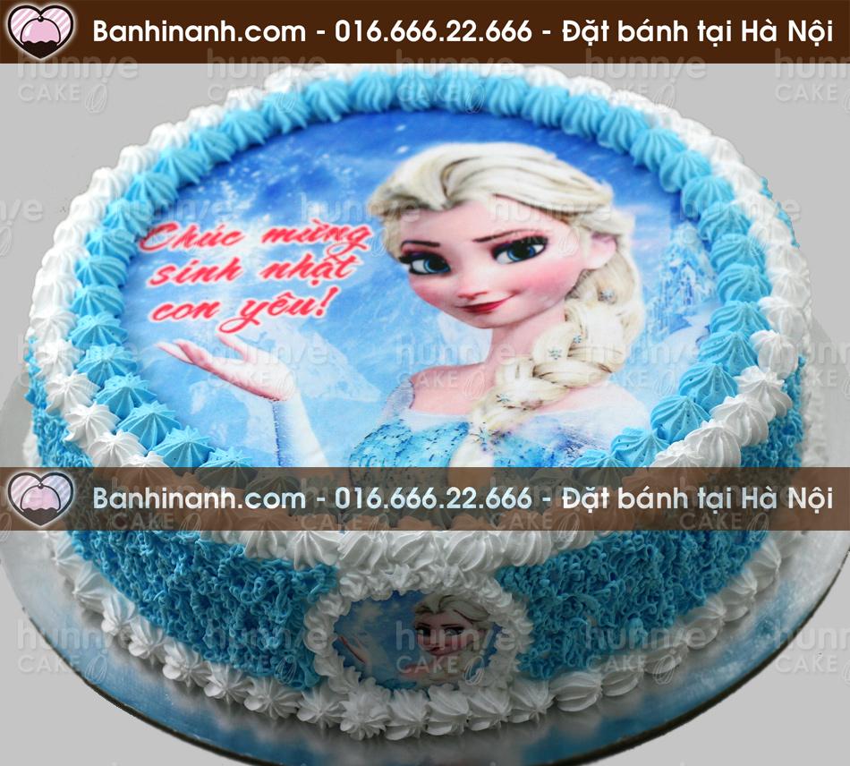 Bánh gato sinh nhật in ảnh Elsa - Nữ hoàng băng giá đưa tay tạo tuyết (Mã: 1333)