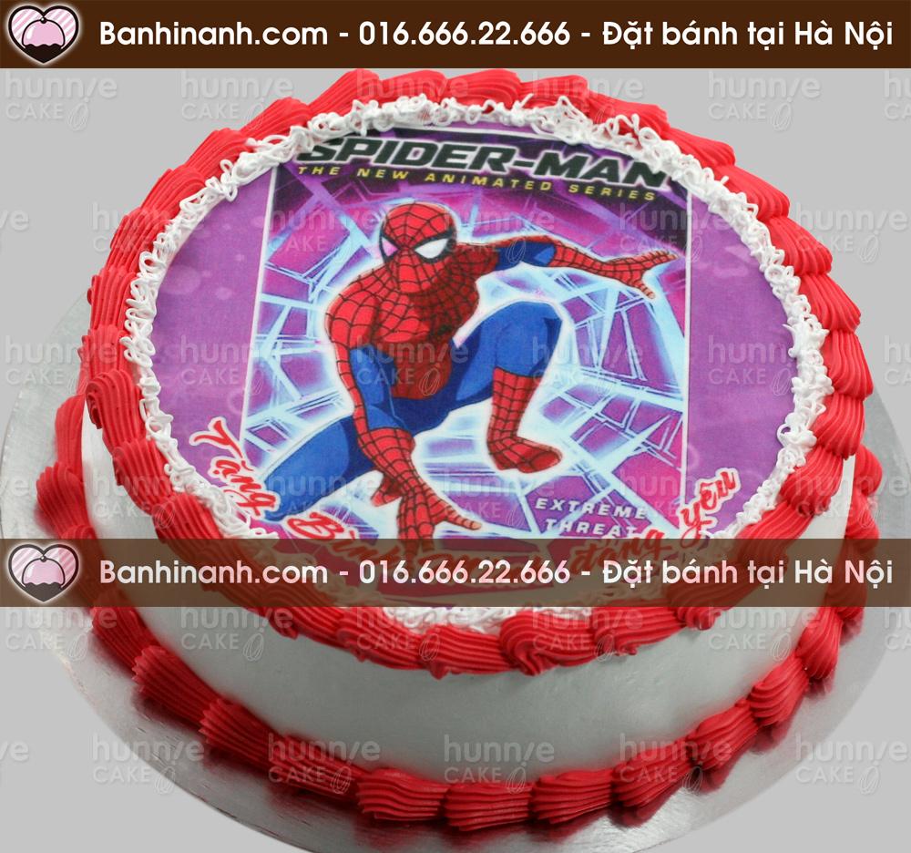 Bánh gato sinh nhật kem tươi in hình siêu nhân người nhện - Spider Man tặng bé trai (Mã: 2664)